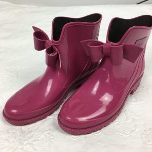 Red Valentino Raspberry Pink Rain Boots with Bow